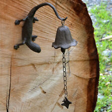 Metal Wall Mount Gecko Reptile Bell/Wind Chimes Outdoor Rustic Yard/Garden Decor