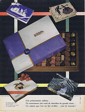 PUBLICITE ADVERTISING 074 1957 KHOLER chocolat de grande classe