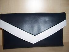 SMALL NAVY BLUE AND WHITE faux leather envelope clutch bag  lined BN,