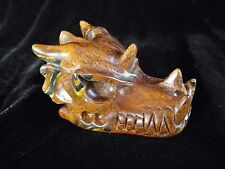 Crystal Skull Tigers Eye Dragon Reiki Healing Unusual Gift Xmas Present 60g