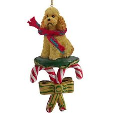 Poodle Apricot with Sport Cut Candy Cane Ornament