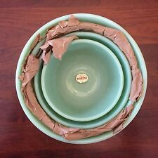 Authentic Vintage Fire King Jadeite Swirl Mixing Nesting Bowls Set of 4 Labeled