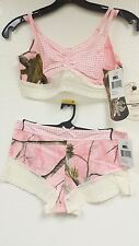 RealTree Girl Camo Lacey Bra Set. Lingerie Sleepwear Mossy Oak CANDY PINK 402237