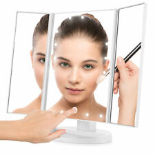 Easehold 21 Super Bright LEDs Touch Screen Tri-Fold Illuminated Make Up Mirror