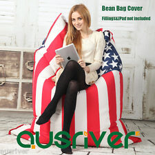 New Stylish Adult Bean Bag Cover Living Room Furniture Couch Chair American Flag