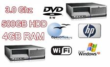 Fast Powerful HP Desktop Tower PC 3.00GHz & 500 GB HD& 4Gb RAM DVD-RW & WiFi