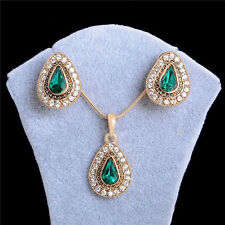 Vintage 18k Gold Plated Green Crystal Pendant Necklace Earrings Jewelry Set