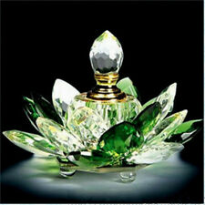 100mm Green Quartz Crystal Glass Lotus Flower Perfume Bottle With Gift Box