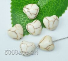50pcs white Turquoise Heart Shaped Gemstone Loose Charm Spacer Beads 12mm