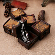 Vintage Wooden Map Box Storage Case Jewellery Cufflinks Chest Small Gift New