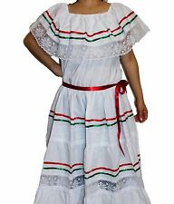 WHITE  PEASANT MEXICAN LACE DRESS OFF SHOULDER CINCO DE MAYO COSTUME ONE SIZE