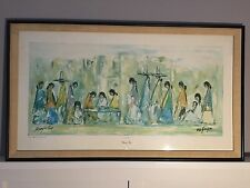 Ettore Ted DeGrazia Navajo Fair Hand Signed Framed Large Southwestern Art 1978