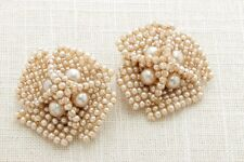 Large Pearl Cluster Earrings Vintage Clip On Blush Ivory Neutral Bridal 16A