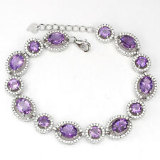 """102.47ct PURPLE AMETHYST with accent STERLING 925 SILVER BRACELET 7""""- 8"""""""
