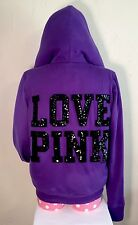 PINK by VICTORIA'S SECRET Purple HOODIE Black FUR Jacket SEQUINS Love DOG Coat S