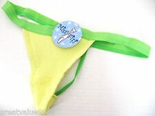 A0003 Miss Pfiff Intimates Yellow Thermal Green Thin Blet Waistband G-String New