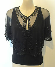 Hand Beaded Shrug Cape Wrap Stole - Black - Brand NEW - One Size