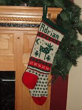 Moose Christmas Stocking - Hand Knit - 100% Wool - Can be Personalized