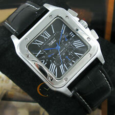Swiss 6Hands Square AUTOMATIC Mechanical Deluxe Men Multifunction Watch Gift Box