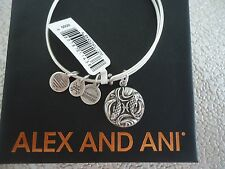 Alex and Ani PISCES III Russian Silver Finish Charm Bangle New W/Tag Card & Box