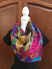 Hermes Silk Scarf Shawl Under The Waves 90cm CW06 Noir Fuchsia Multicolor BNIB