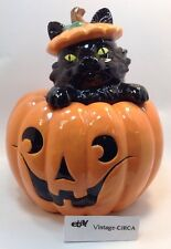 BLACK CAT PUMPKIN COOKIE JAR Jack-O-Lantern HARRY AND DAVID Halloween *RARE*