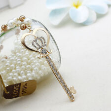 Chic Key Shaped Heart Crown Clear Crystal Pearl Sweater Chain Necklace Jewlery