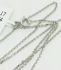 "14k Solid White Gold High Polish Cable Link Pendant Necklace Chain 16"" 1.1mm"