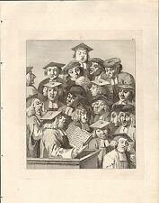 1818 Grabado Cobre Hogarth georgiano ~ Alemania sus médicos Sombrero