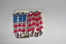 Red, White, Blue American flag silver pins. Larger pin.