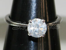 SOLITAIRE NATURAL DIAMOND 0.87ct JK/I2 14k WHITE GOLD WEDDING ENGAGEMENT RING