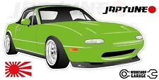 Mazda Miata MX5  Style Sticker - Green with Enkei Style Rims - JapTune Brand