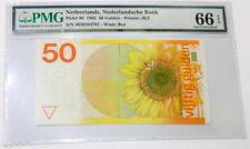 Netherlands 50 Gulden 1982 Zonnebloem Sunflower PMG 66 EPQ P-96