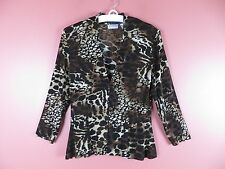 STK1408- CHICO'S TRAVELERS Woman Slinky Knit Jacket V-neck Geo Sz 0 XS S MINT