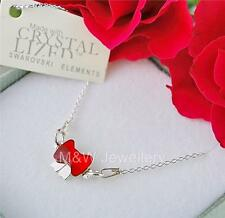 925 STERLING SILVER CHAIN NECKLACE SWAROVSKI Elements PENDANT BOW LIGHT SIAM