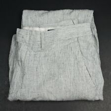 J CREW Slim Bedford Linen Cotton Blend Ivory Pattern Flat Front PANTS Mens - 32