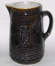 Vintage Stoneware Pitcher Rockingham Glaze Milk Pitcher Grapes Pattern TLC