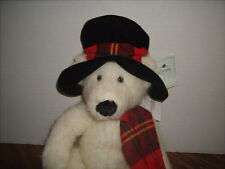 """Russ plus White Bear  by RUSS BERRIE & Co  15"""" Tall with Hat & Scarf NEW"""