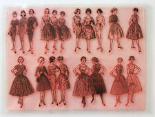 "Clear Stamps Sheet 7""x10"" ~ Vintage Fashion Girl Fifties FLONZ rubber 403-131"