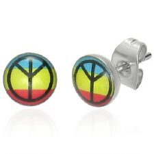 Stainless Steel Peace Sign 3 Color Stud Earring    c15