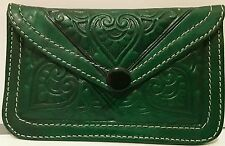 Moroccan leather purse wallet green handmade SMALL