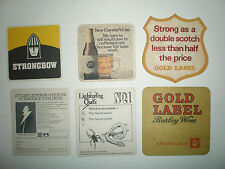 SIX BEERMATS FROM THE LATE 1970'S GOLD LABEL, WOODPECKER, STRONGBOW & GAYMER'S