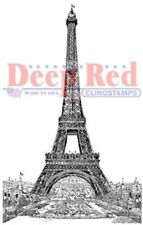 Deep Red Rubber Cling Stamp Vintage Paris France Eiffel Tower Scene