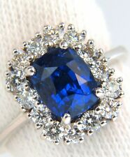 $16,000 GIA 3.89CT 18KT NO HEAT NATURAL SAPPHIRE DIAMOND RING UNHEATED CUSHION