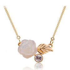 White Enamel Rose & Leaf Round Crystal Hanging Pendant Necklace Silver or Gold