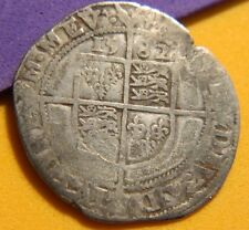 TUDOR PERIOD 1582 ELIZABETH 1ST SILVER SIXPENCE ROSE BESIDE BUST.