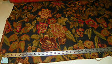 Black Red Gold Flower Print Tapestry Upholstery Fabric  1 Yard  R720