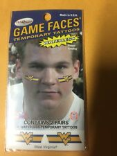 NEW Team Dynamics Game Faces, 2 Pair West Virginia University (WVU) Free Ship