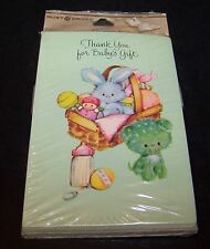 Vintage Baby Gift Shower Thank You Notes Cards Rust Craft 8 Ct Bunny Toys Green