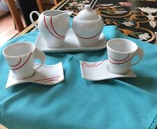 8 PC Modern Design Espresso Cup Saucer Coffee Set By ORION Collection. NEW